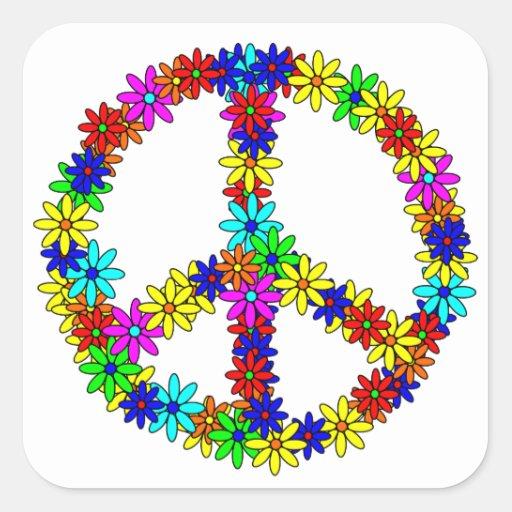Signo de la paz de la flor del amor pegatina cuadrada