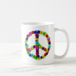 Signo de la paz de la flor del amor tazas de café