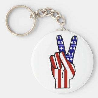 Signo de la paz de la mano - blanco y azul rojos llaveros personalizados