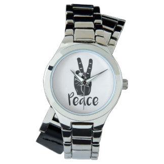 Signo de la paz de la mano del icono con el texto relojes de pulsera