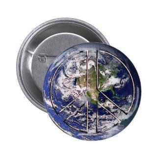Signo de la paz de la tierra del planeta pin redondo 5 cm