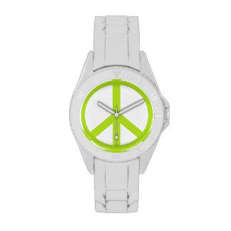 Signo de la paz de la verde lima relojes de pulsera