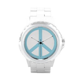 Signo de la paz de los azules cielos relojes de pulsera