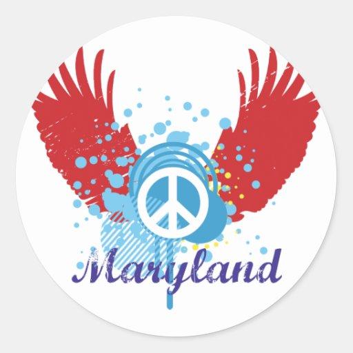 Signo de la paz de Maryland Pegatina Redonda