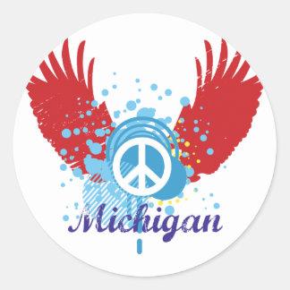 Signo de la paz de Michigan Etiqueta Redonda