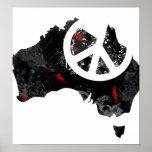Signo de la paz de moda de Australia con el mapa a Poster