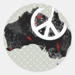 Signo de la paz de moda de Australia con el mapa Pegatina Redonda