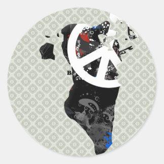 Signo de la paz de moda de Bahrein con el mapa de Pegatina Redonda