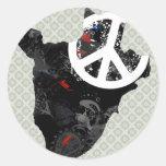 Signo de la paz de moda de Burundi con el mapa Etiqueta Redonda