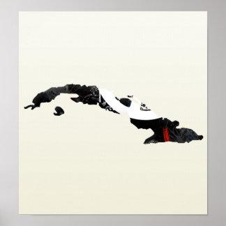 Signo de la paz de moda de Cuba con el mapa cubano Poster