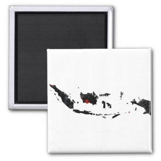 Signo de la paz de moda de Indonesia con el mapa i Imán De Frigorifico
