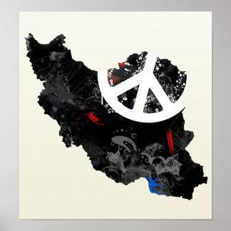 Signo de la paz de moda de Irán con el mapa iraní Poster