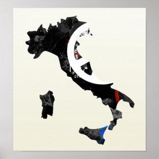 Signo de la paz de moda de Italia con el mapa ital Poster