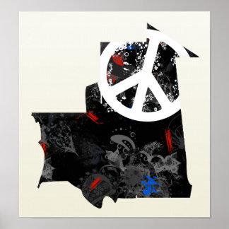Signo de la paz de moda de Mauritania con el mapa  Posters