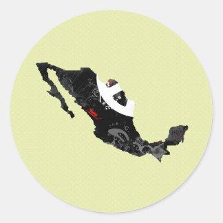Signo de la paz de moda de México con el mapa Pegatina Redonda