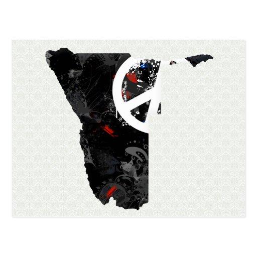 Signo de la paz de moda de Namibia con el mapa de  Postal
