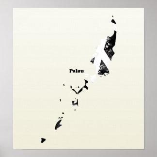 Signo de la paz de moda de Palau con el mapa de Pa Impresiones