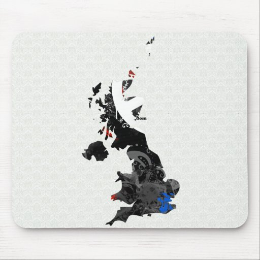 Signo de la paz de moda de Reino Unido con el mapa Alfombrillas De Raton