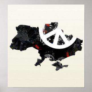 Signo de la paz de moda de Ucrania con el mapa ucr Impresiones