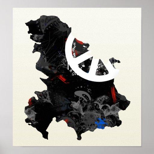 Signo de la paz de moda de Yugoslavia con el mapa  Posters