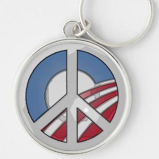 Signo de la paz de Obama Llavero Redondo Plateado
