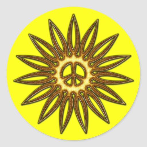 Signo de la paz de oro Sun Pegatina Redonda