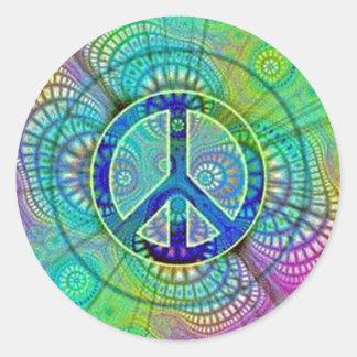 Signo de la paz de Psychadelic Pegatina Redonda