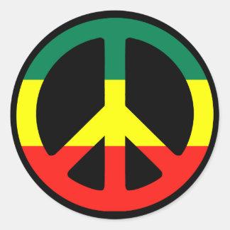 Signo de la paz de Rasta Pegatina Redonda