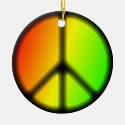 Signo de la paz de Rastafarian Adorno Navideño Redondo De Cerámica