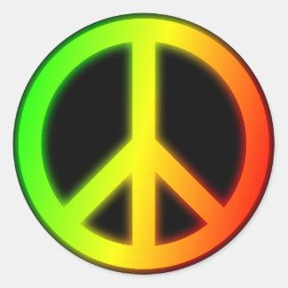 Signo de la paz de Rastafarian Pegatina Redonda