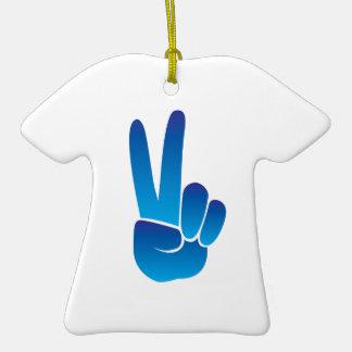 Signo de la paz adorno de cerámica en forma de camiseta