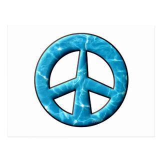 Signo de la paz del agua azul tarjetas postales