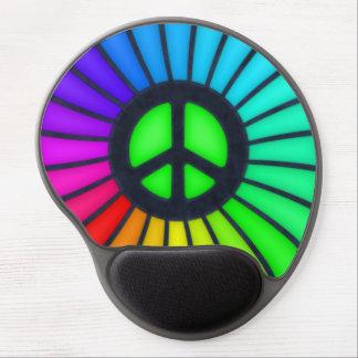 Signo de la paz del arco iris alfombrillas de raton con gel