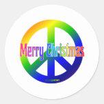¡Signo de la paz del arco iris con Felices Navidad Pegatinas