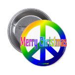 ¡Signo de la paz del arco iris con Felices Navidad Pins
