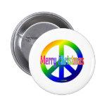 ¡Signo de la paz del arco iris con Felices Navidad Pin