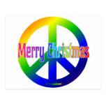¡Signo de la paz del arco iris con Felices Navidad Postal