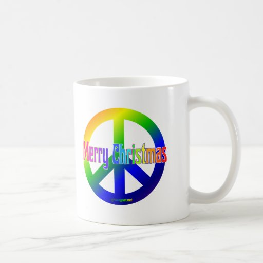¡Signo de la paz del arco iris con Felices Navidad Taza