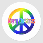 ¡Signo de la paz del arco iris con Felices Pegatinas Redondas