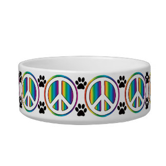 Signo de la paz del arco iris tazón para comida gato