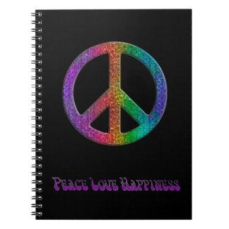 Signo de la paz del arco iris de la felicidad del spiral notebook