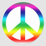 Signo de la paz del arco iris etiqueta redonda