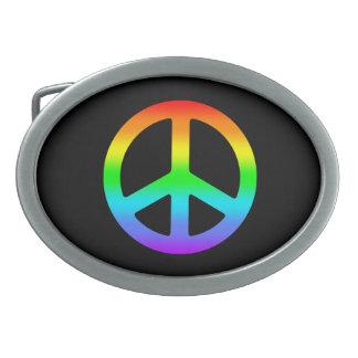 Signo de la paz del arco iris hebilla cinturón oval