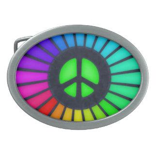 Signo de la paz del arco iris hebillas cinturon ovales