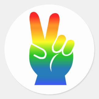 Signo de la paz del arco iris etiqueta