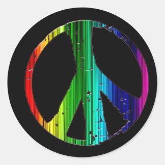 Signo de la paz del arco iris pegatina redonda