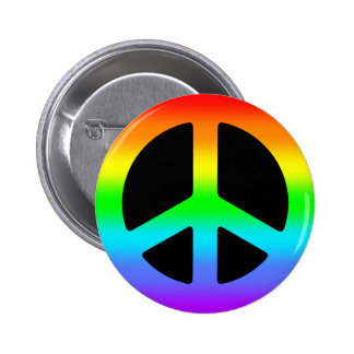 Signo de la paz del arco iris pin redondo de 2 pulgadas