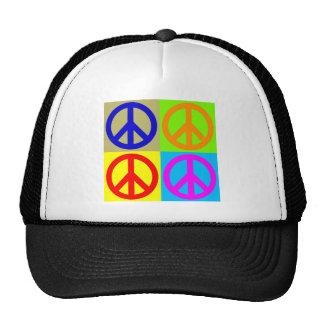 Signo de la paz del arte pop de cuatro colores gorros bordados