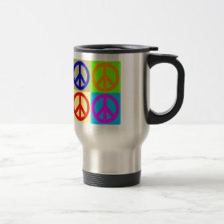 Signo de la paz del arte pop de cuatro colores taza de viaje de acero inoxidable