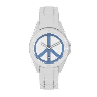 Signo de la paz del azul de la pizarra relojes de pulsera